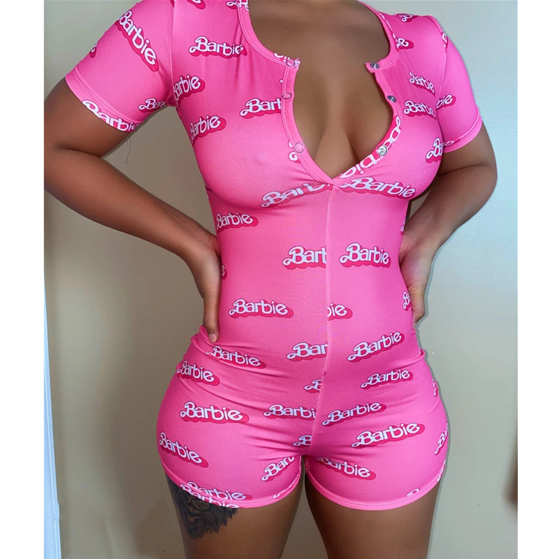 Bodycon Bodysuit Casual Printed Button Sleepwear Jumpsuit Shorts Romper Leotard Women Sexy V-neck Short Sleeve For Summer Skinny