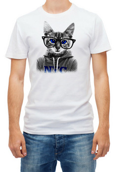 Cat With Glasses Short Sleeve White Men'S Top Quality T Shirt Outfit Tee Shirt