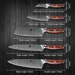 Image 2 - Xinzuo 5 個ナイフセット vg10 ダマスカス鋼包丁セットステンレス鋼包丁シェフユーティリティ果物ナイフローズウッドハンドル