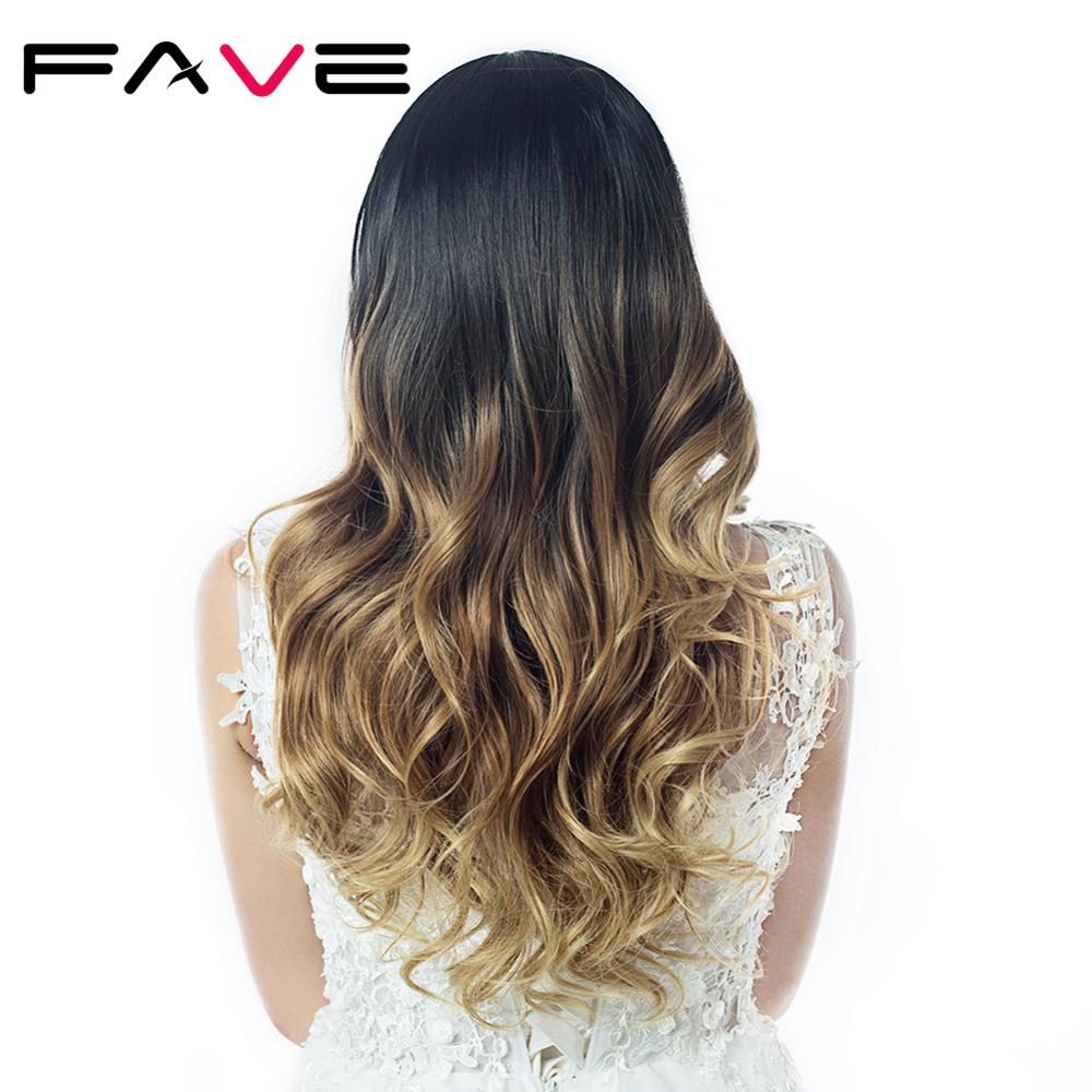 Fave Long Ombre Black Brown Blonde Synthetic Wigs Gray Cosplay Heat Resistant For Black/White Women Glueless Wavy Daily Hair Wig
