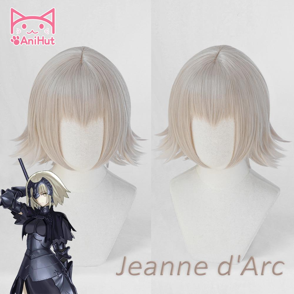 AniHut Alter Jeanne D'Arc Wig Two Version Fate Grand Order Cosplay Wig Synthetic Short Hair Anime FGO Cosplay Joan Of Arc