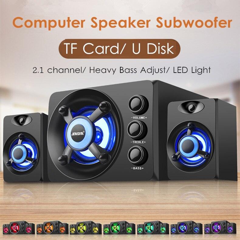 Led ışık 2.1 masaüstü bilgisayar hoparlör ağır bas Subwoofer ev kombinasyon hoparlör için USB güç kaynağı PC dizüstü cep telefonu