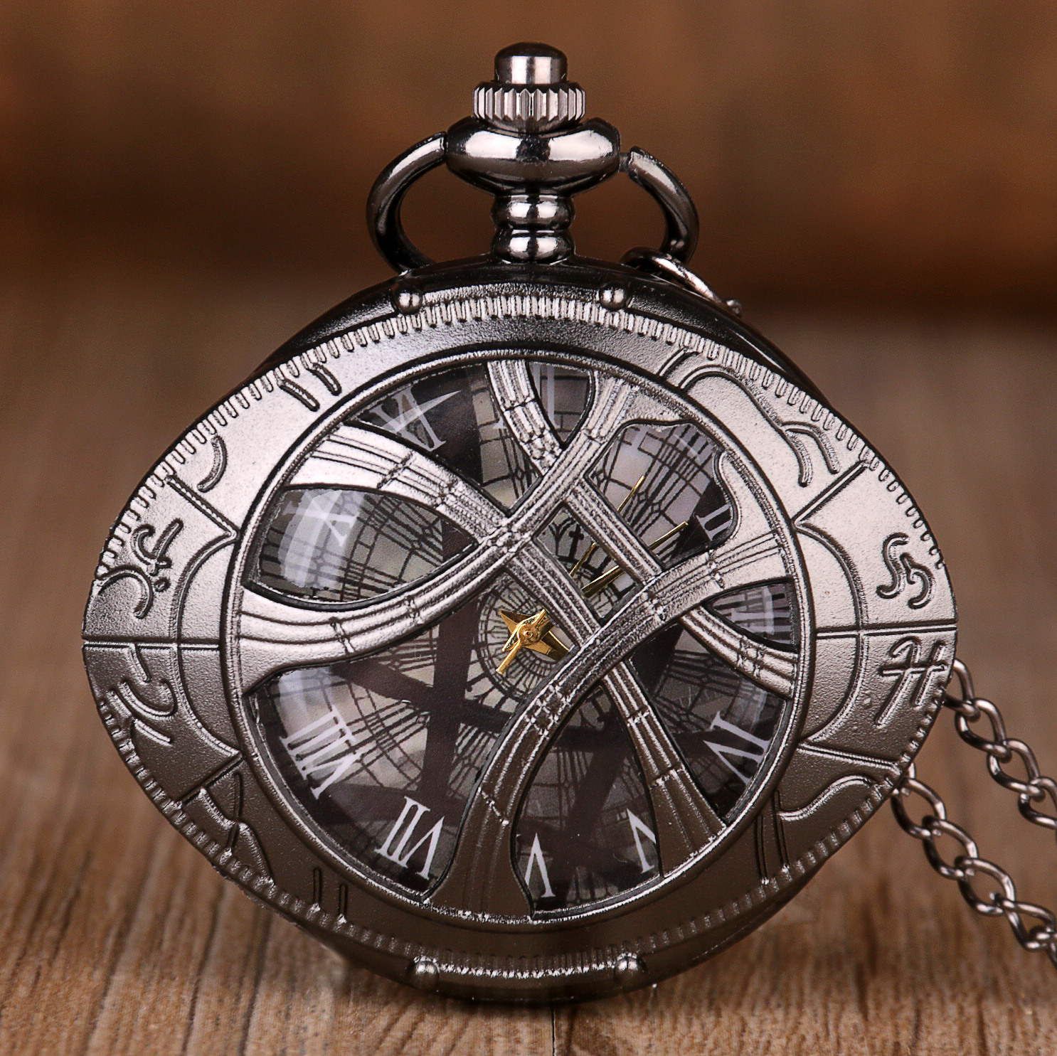 New Vintage Bronze Pocket Watches Eyes Design Shape Quartz Pocket Watches Jewelry Pendant Necklace Chain Gifts For Mens Womens