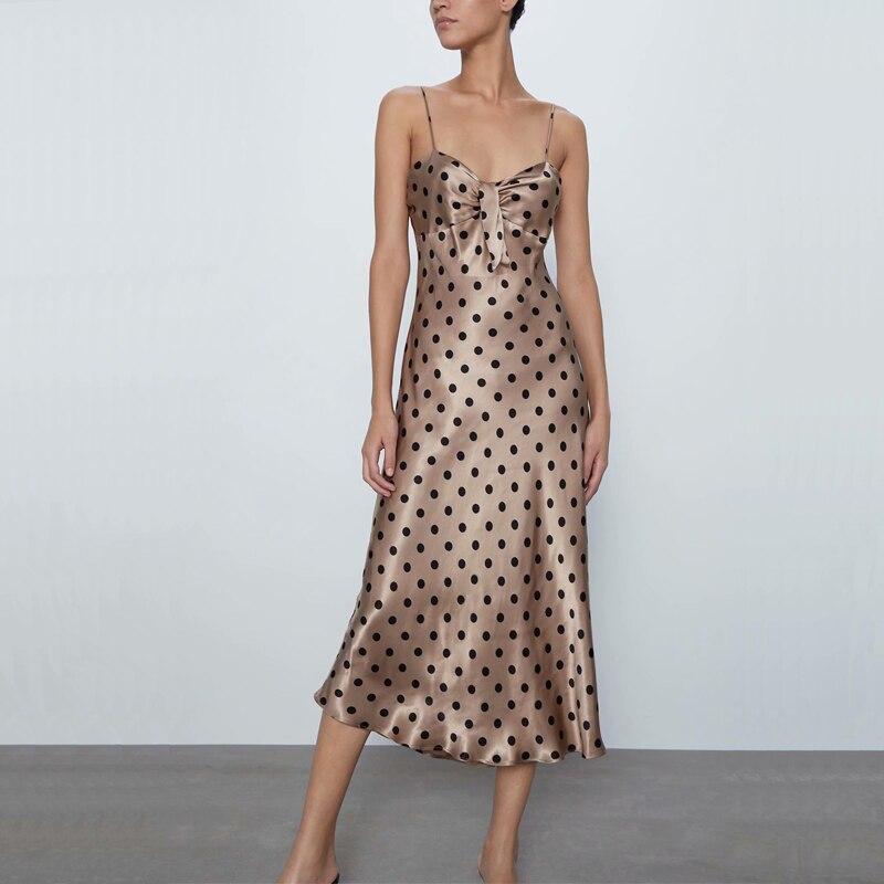 Summer women dress casual dot print bow decoration harness dress Vestidos