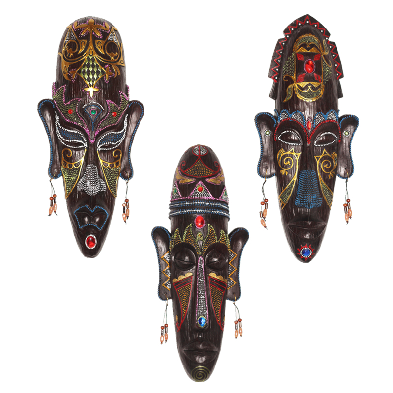 Zakka 3D Hand Painted Crafts Gift Personality Retro African Masks Metope Wall Hanging Decor For Home Living Room Bar Ornament