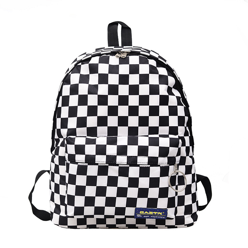 Fashion Black And White Plaid Ladies Backpack Travel Leisure Outdoor Sports Backpacks Nylon Waterproof Backpack Student Bag