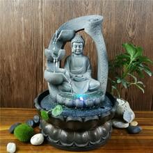Resin Zen Lotus Buddha Statue Led Fountain FengShui Figurines Home Office Desktop Decoration Meditation Space Garden Ornaments