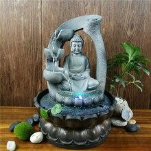 Żywica Zen Lotus posąg buddy Led fontanna FengShui figurki Home Office dekoracja stołu medytacja przestrzeń ozdoby ogrodowe