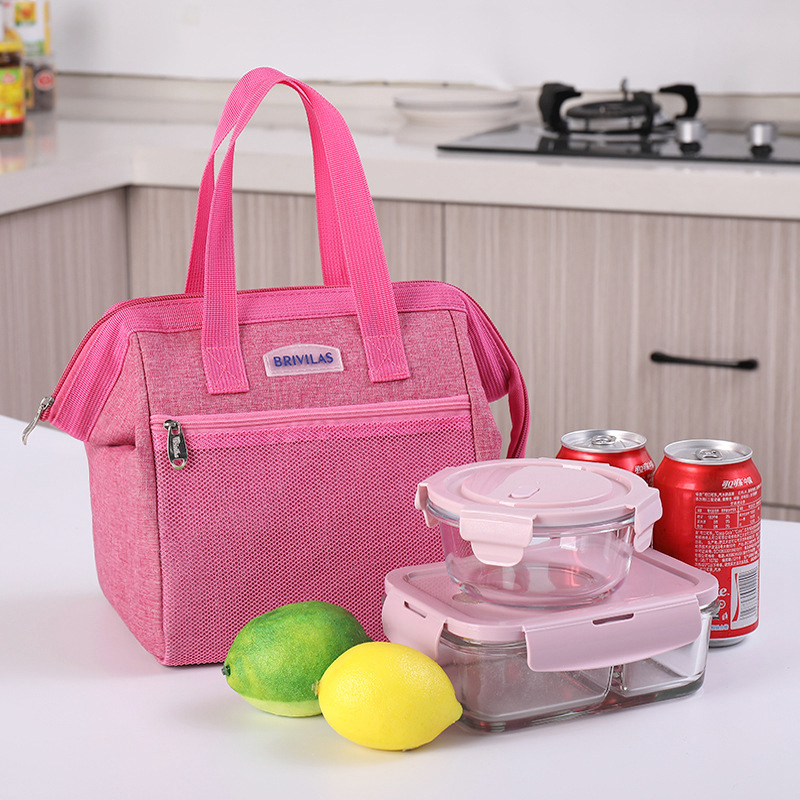 Simple Lunch Bag Cotton Frog Mouth Food Picnic Ice Bag Insulated Tote Cooler Bag Thermal Child Big Capacity Women Aluminum Foil