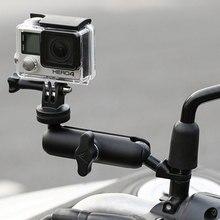 Держатель камеры для мотоцикла и велосипеда, кронштейн крепления зеркала на руль, металлическая подставка 1/4 для GoPro Hero8/7/6/5/4/3 + аксессуары для экшн камеры s