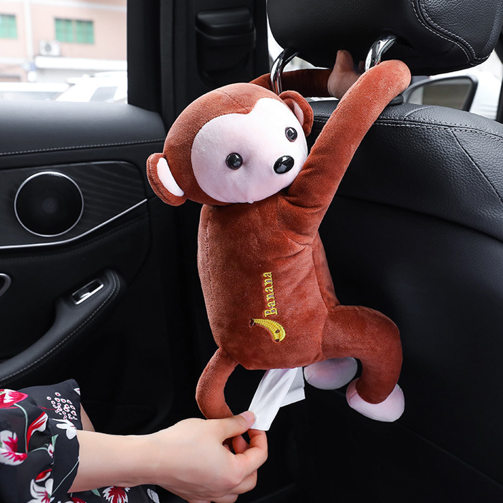 Creative Cartoon Monkey Home Office Car Hanging Paper Napkin Tissue Box Cover Holder Portable Paper Box #15