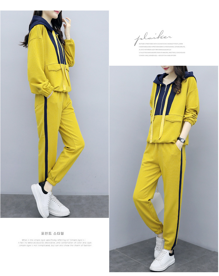 Plus Size Yellow Sport Two Piece Outfits Sets Tracksuits Women Hooded Sweatshirt And Pants Suits Casual Fashion Korean Sets 2019 37