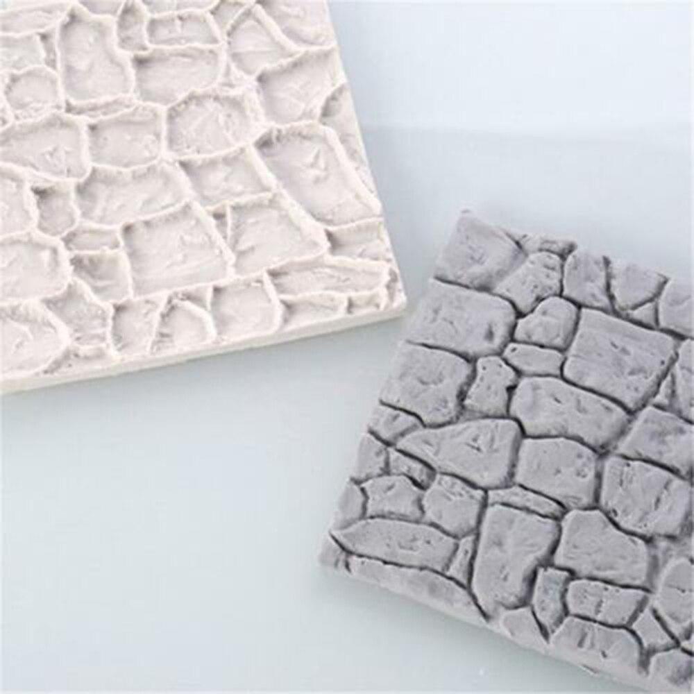 New Cobble Stone Wall Line Grain Shape Silicone Printing Texture Mat Sugarcraft Fondant Mold Cake Decorating Tools
