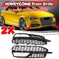 EIN Paar Auto Front Stoßstange Nebel Licht Lampe Kühlergrill Abdeckung Honeycomb Mesh Stil Für Audi S3 A3 S-Linien 2014-2016 8V3807682L 8V3807682G