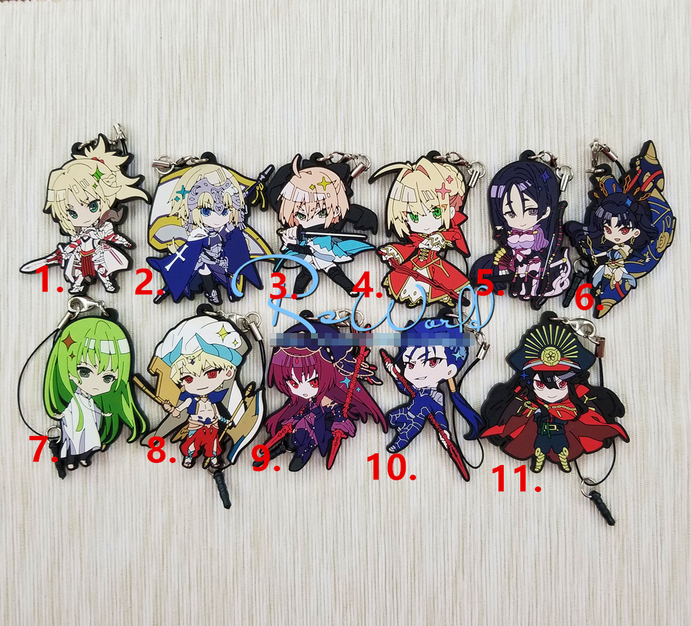 Fate/Grand Order FGO Anime Enkidu Gilgamesh Mordred Jeanne D'Arc Scathach Okita Souji Nero Ishtar Oda Nobunaga Rubber Keychain