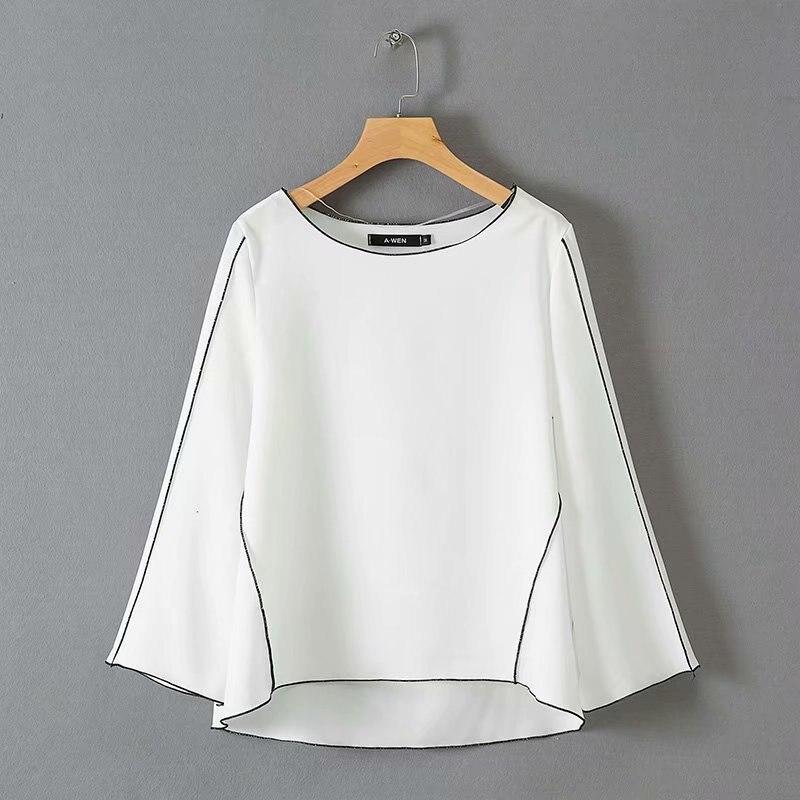 Женская футболка с длинным рукавом однотонная Повседневная простая