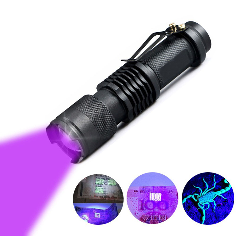 LED <font><b>UV</b></font> <font><b>Flashlight</b></font> <font><b>365nm</b></font> <font><b>395nm</b></font> Blacklight Scorpion <font><b>UV</b></font> Light Pet Urine Detector Zoomable Ultraviolet rechargeable outdoor lighting image