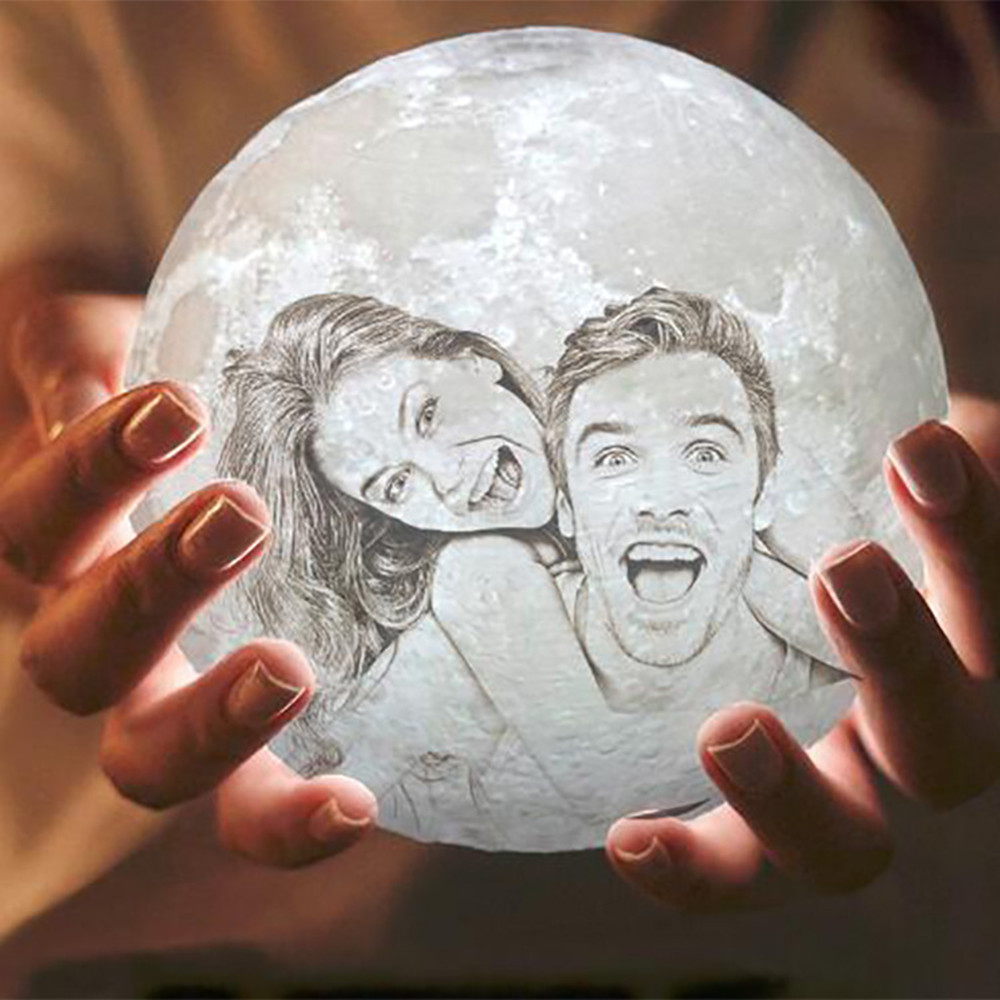 Customized 3D Print Moon Lamp 2/16 Colors  Change USB Rechargeable Night Light Touch/Remote Control Valentine's Day Gift