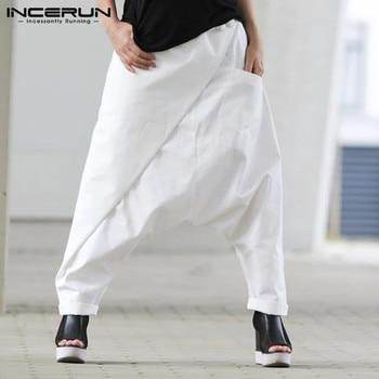 Pantalones Harem para Hombre, Pantalones casuales de algodón con cintura elástica de Color sólido, Pantalones con entrepierna baja para Hombre