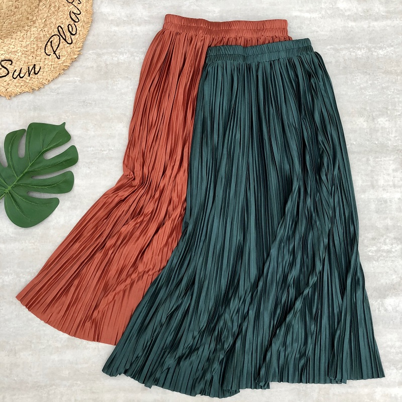Sping Summer Women Midi Skirts Pleated Metallic Color Shinny Long Skirts Casual Daily Skirt For Women