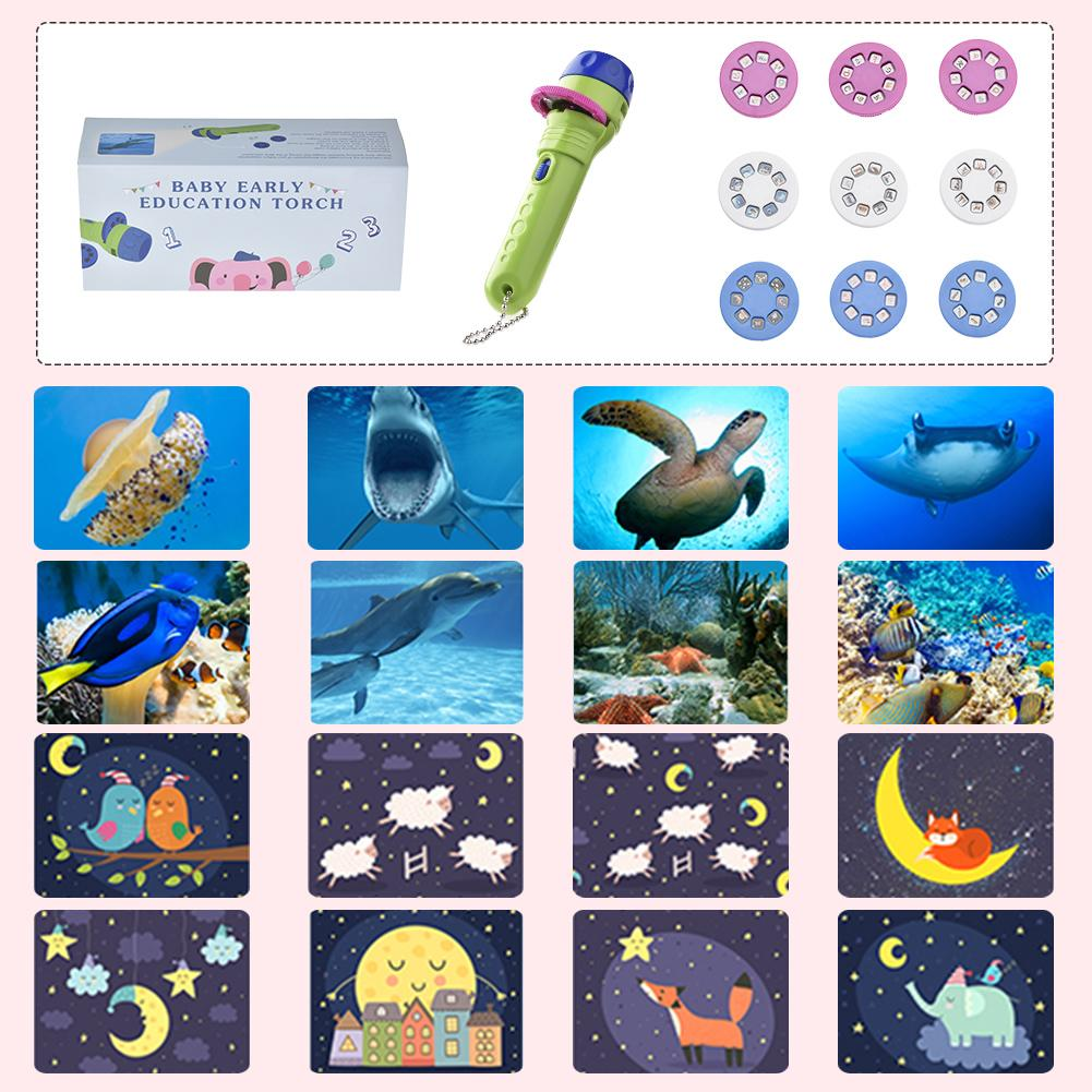 Kids Flashlight Storybook Torch HD Animation Cartoon Early Educational Toy Handed Projector Learning Machine