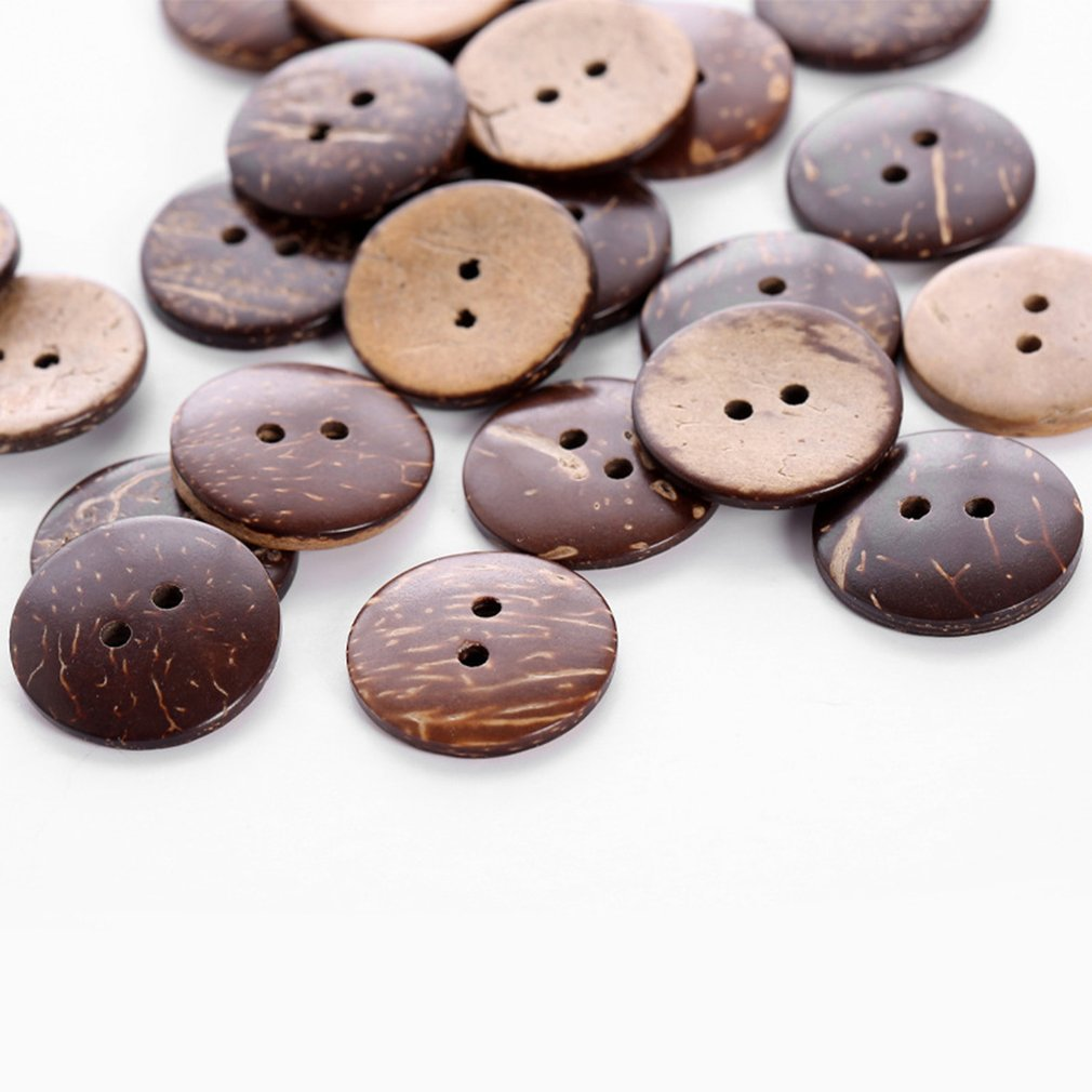 24PCS//Bag Round Shape 2 Holes Sewing Wooden Buttons for Adult Children Clothes Decorative Crafts Scrapbooking Accessories