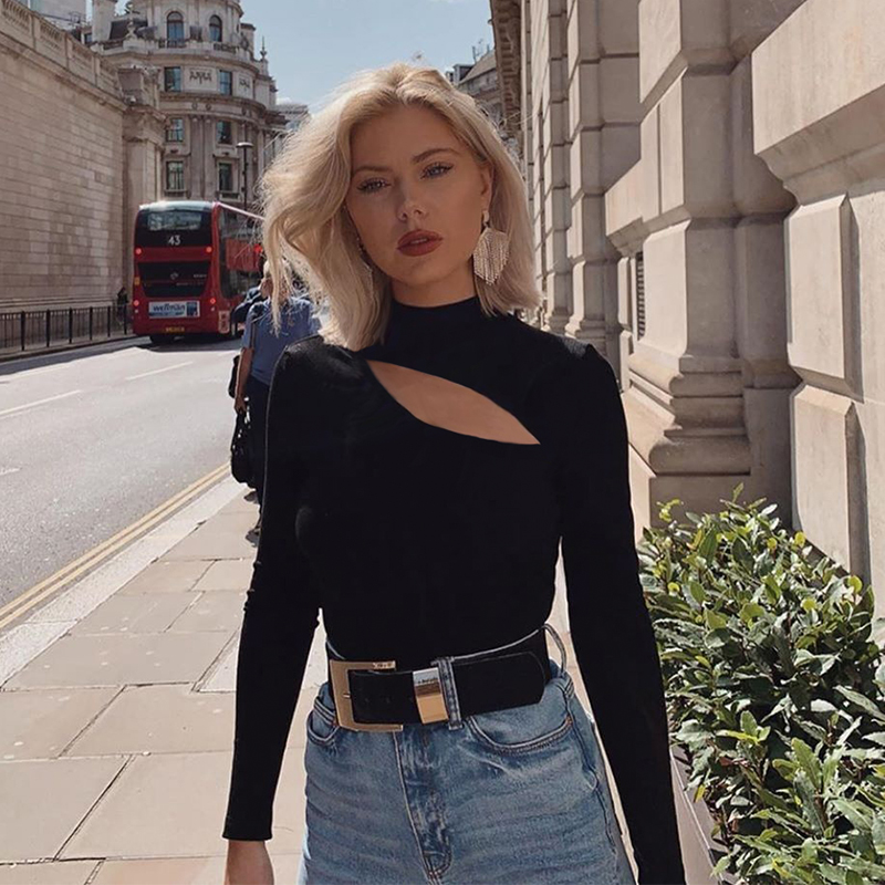 Conmoto Women Fashion Sexy Hollow Out Black T-Shirt Female 2019 Autumn Winter Long Sleeve Elastic Knitted Tops Turtleneck Jumper