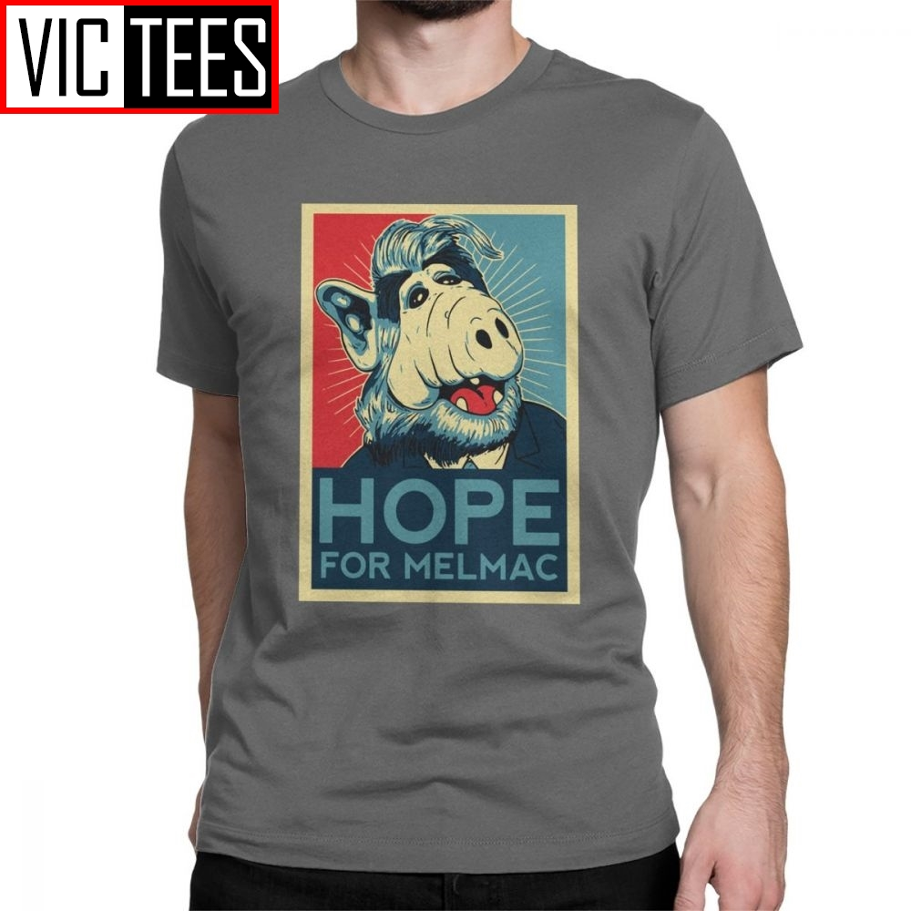 Hope For Melmac Yes We Can Parody With Alf T Shirts Men Cotton T-Shirt Round Collar Tv Shumway Sitcom Cat Alien Tee Shirt