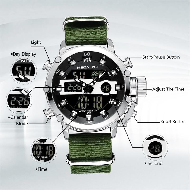 Relogio Masculino MEGALITH Sport Waterproof Watches Men Luminous Dual Display Alarm Top Brand Luxury Quartz Watch Wholesale 8051 4