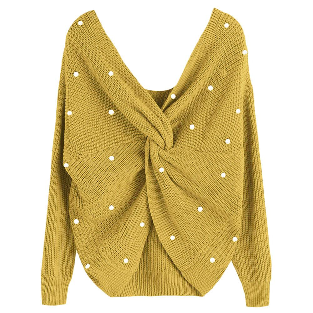 Pull Femme Women Backless Faux Pearl Beading Twisted Long Sleeve Sweater Solid Color Jumper