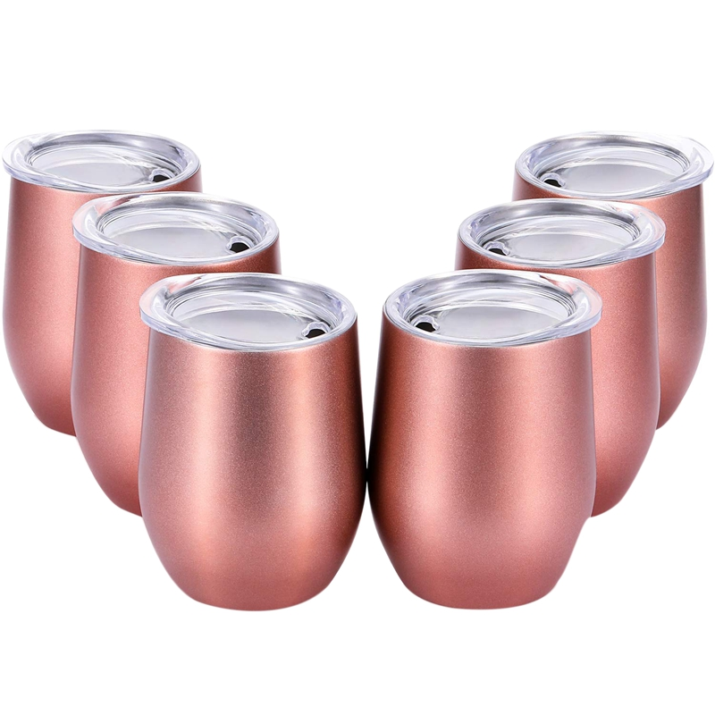 1 ensemble 6 pièces 12 Oz incassable Drinkware gobelet à vin sans tige en acier inoxydable Triple-isolé tasse à vin en verre avec couvercles