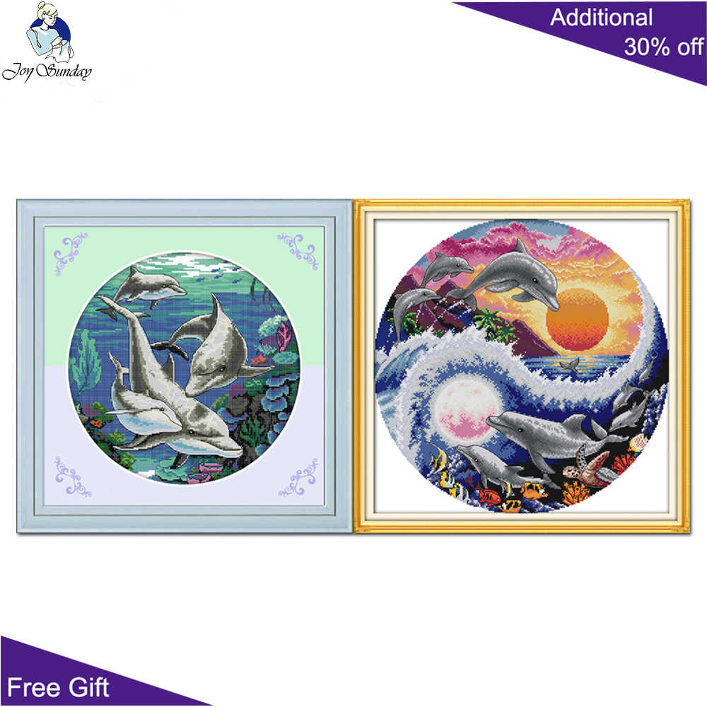 Animals Dolphins Stamped Cross Stitch Kit for Boys Printed Design 40 x 53cm