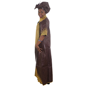 Image 3 - MD african bazin dresses for women embroidery long dress chiffon head wrap south africa lady clothes evening party dresses