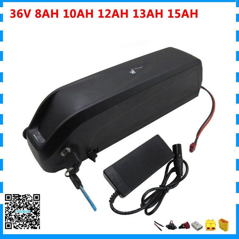 Spor ve Eğlence'ten Elektrikli Bisiklet Bataryası'de 500W 36V Hailong pil 36V 8AH 10AH 12AH 13AH 15AH lityum ebike pil USB portu ile 15A BMS 42V 2A şarj ücretsiz gümrük ücreti title=