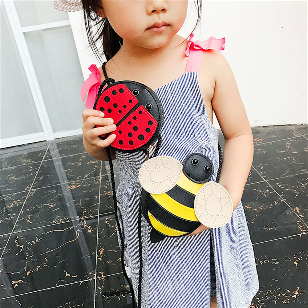 Plush Backpacks Cute Children Girl Bags Bee Ladybug Snails Baby Girl Crossbody mini shoulder bag PU carry gift for kid in Plush Backpacks from Toys Hobbies