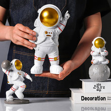 Resin Astronaut Figurines Fashion Spaceman With Moon Sculpture Decorative Miniatures Cosmonaut Statues Gift For Man & Boyfriend(China)