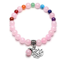 FYJS Unique Silver Plated Lotus Buddha Connect Rose Pink Quartz Bracelet Rock Crystal Yoga Meditation Chakra Jewelry