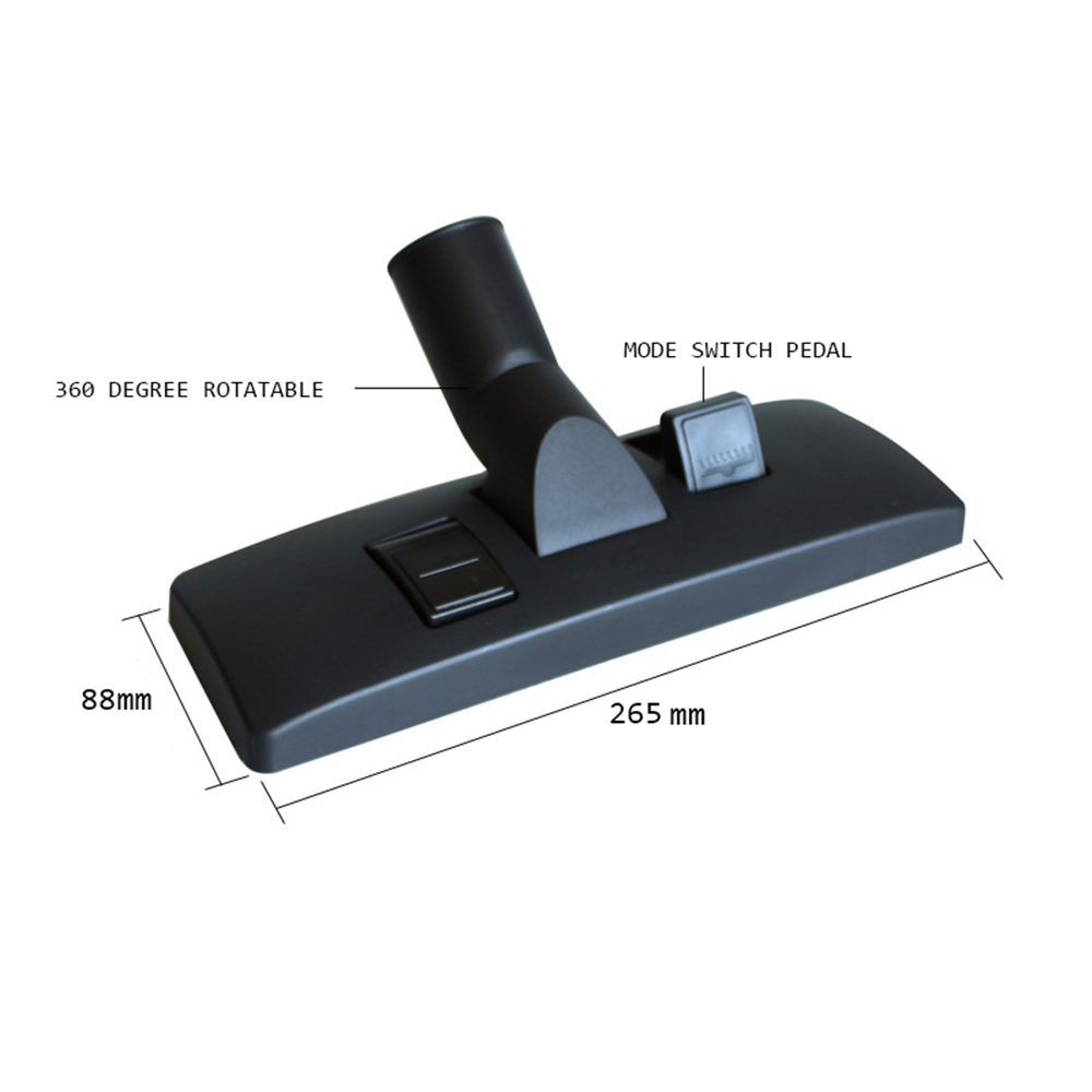 38mm Dia Black Industrial Vacuum Cleaner Attachment Brush Nozzle Head