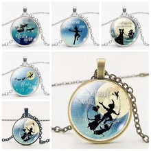 Silver Retro Chain Jewelry Peterpan Necklace Glass Convex Necklace. Private Customized Pictures