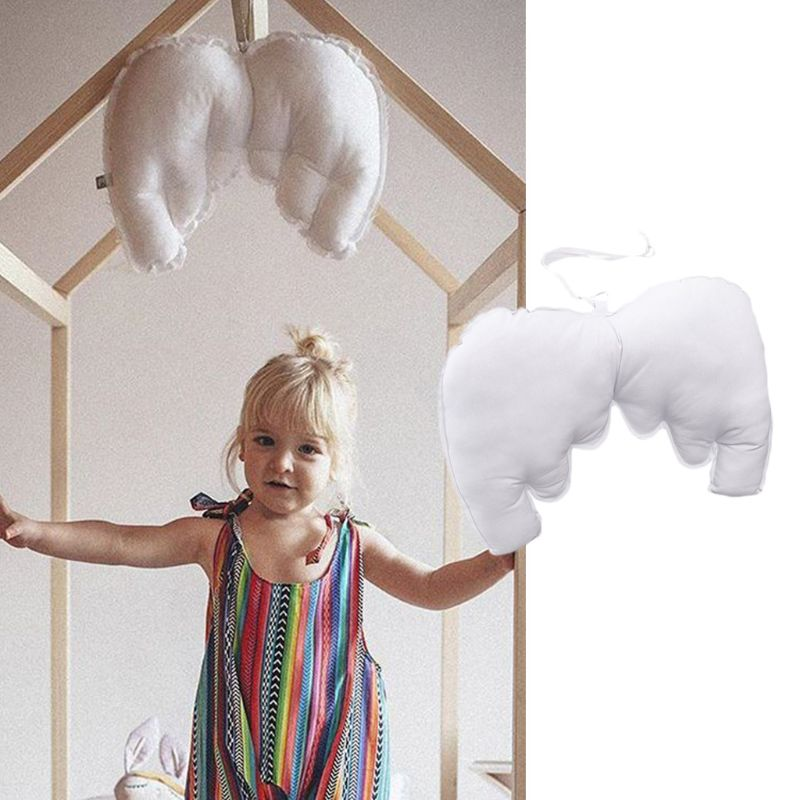 Baby Pillow White Wings Blended Cotton Cushion Children Room Home Decoration