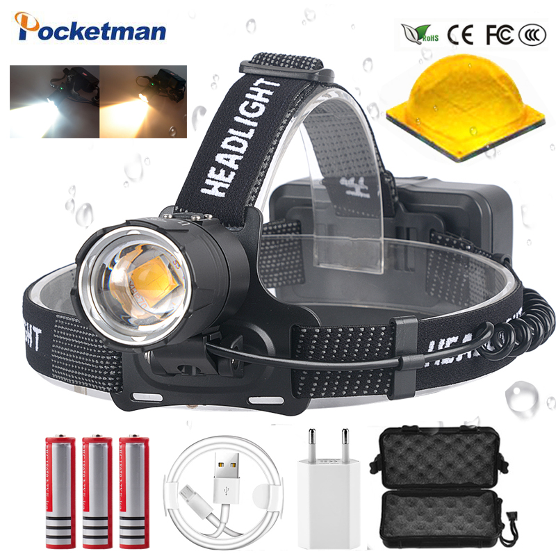 Brightest XHP70 LED Most Powerful Headlamps  Heavy Foggy Snowy Work Light  XHP70.2 Headlights Torch ZOOM Use 3x18650 Battery