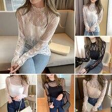Кружевная основа рубашка Осень зима открытая облегающая блузка