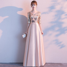 JIN IS пряжа линии блесток золотистое вечернее платье Длинные Вечерние вечернее платье выпускного вечера формальное платье женское элегантное женское платье De Soiree