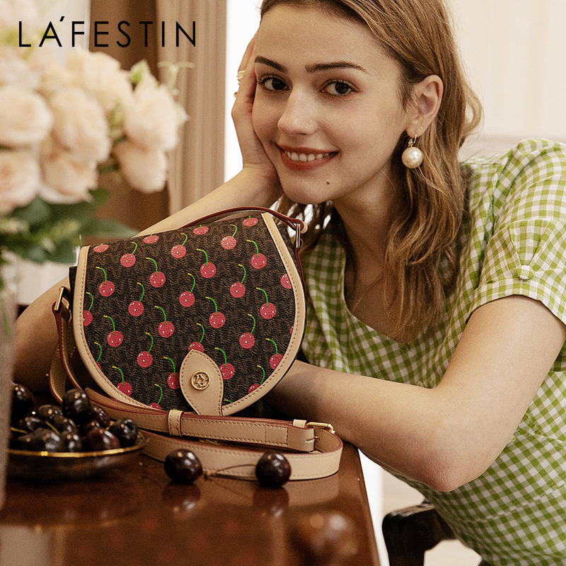 LAFESTIN 2020 New Fashion Shoulder Messenger Bag Cherry Women Bags Retro Texture Saddle Bag
