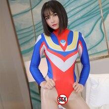 Cosplay Costume Ultraman Super-Hero Dress Sex-Uniform Fantasy Leotard Tiga Open-Crotch