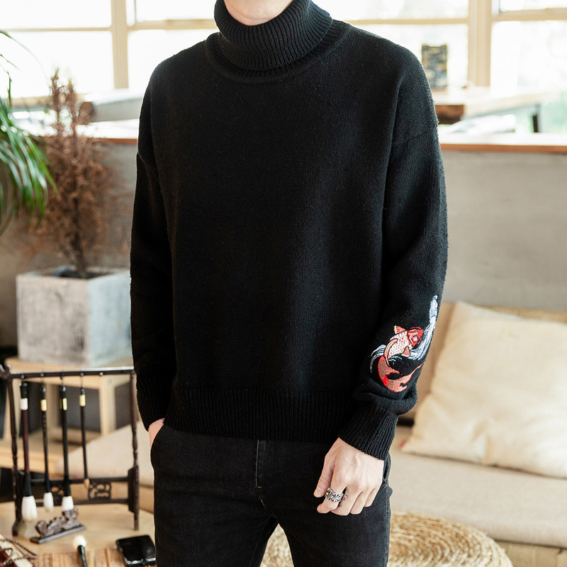New Sweater Men Turtleneck Sweater Pullovers Chinese Style Embroidery Knitted Male Casual Pullover Fashion Black Grey Sweaters