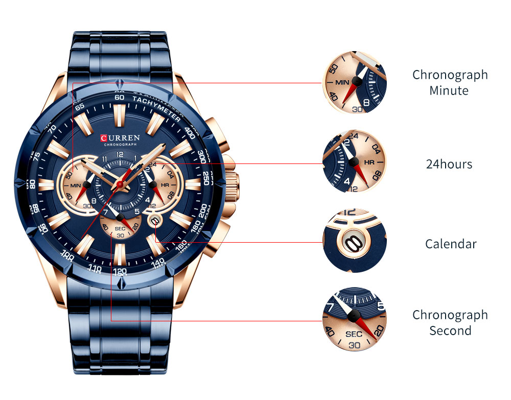 H22a5ece60c424feaaddb6d72a829af9bP CURREN Wrist Watch Men Waterproof Chronograph Military Army Stainless Steel Male Clock Top Brand Luxury Man Sport Watches 8363