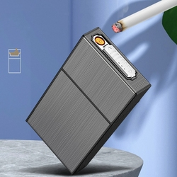 20 sztuk metalowa papierośnica pudełka przenośne USB elektryczne zapalniczki palenie wodoodporny papieros Holder męskie gadżety Dropshipping