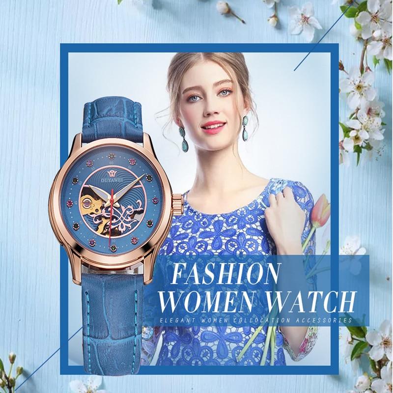 2019 New Fashion Luxurious Mechanical Automatic-self-winding Leather Band Women Watch 30m Waterproof For Girls Birthday Gifts