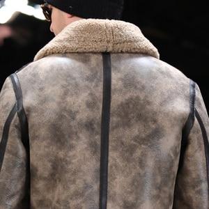 Image 5 - Prawdziwe futro z owczej skóry latający płaszcz oryginalna kurtka z owczą wełną mężczyzna zimowa kurtka lotnicza brązowy mężczyzna futrzany płaszcz bardzo duża wielkość